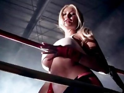 Stunning big tits boxer loses her fight with a huge dick