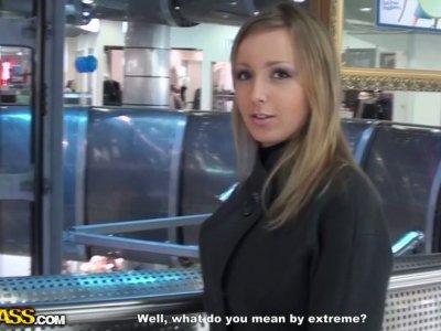 Skanky blonde babe fucks a guy in a store