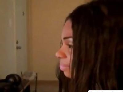 Booty black Tatiyana enjoys rubbing her shaved pussy