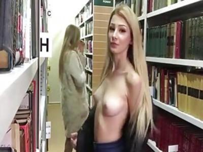 Teens masturbating in a library