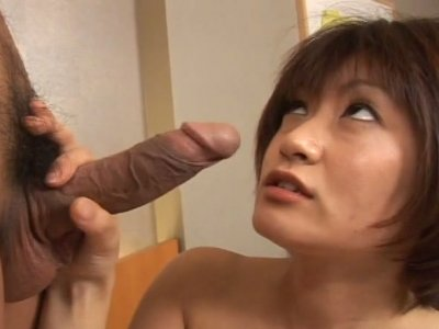 Short haired nympho Yuuki Hibino gets her too fluffy pussy drilled mish