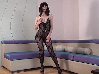 Brunette's perfect bodysuit