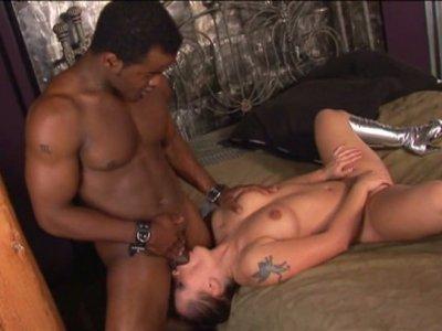 Strong black cock drills the anus of buxom whore Katja Kassin