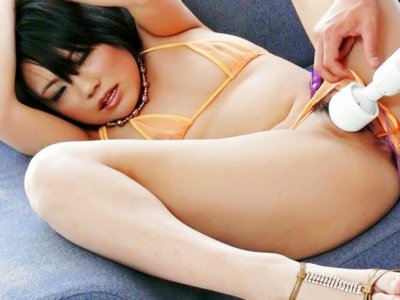 Haruna Katou cums hard after her boyfriend toys her trimmed pussy