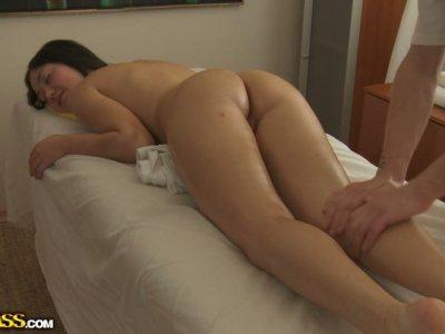 Rapacious amature chic blowjobs after a zealous massage