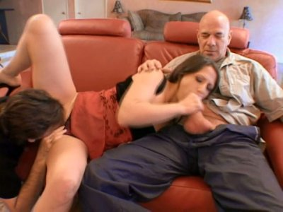 Sextractive brunette milf Lena Ramon gets her bushy twat poked in missionary while she is busy giving a head