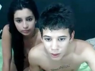 Skinny dude and his Turkish girlfriend bang wildly on webcam