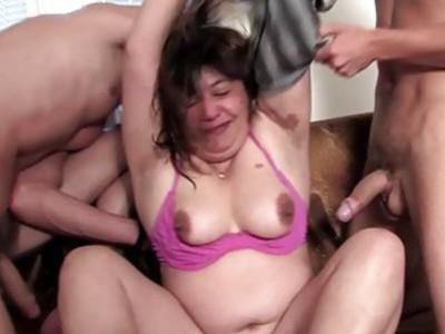 Fat mature enjoys gangbang and bukkake