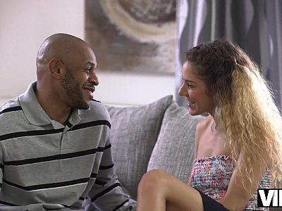 Skinny babe Monique Woods seduces black owner
