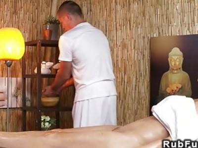 Huge fake tits babe rides masseurs dick
