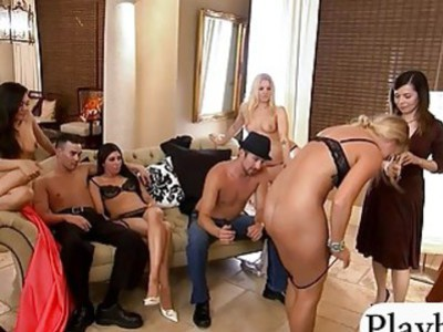 Group of couples ready for nasty games in Playboy mansion