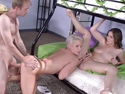 Molly joins horny big tittied threesome