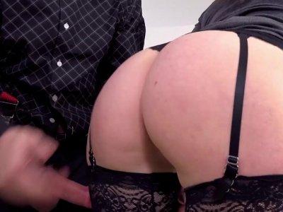 Big ass gal in garter belts sucks dick and bangs