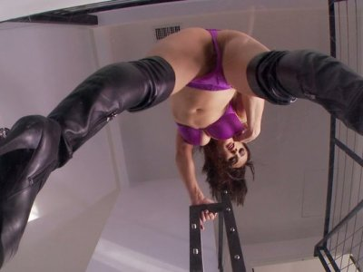 Fabulous brunette bitch Misty Anderson brags with her purple lingerie