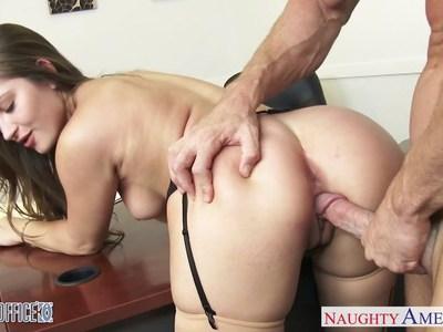 Hot office babe Dani Daniels riding cock