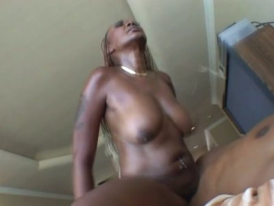 Plump black chick Ms Cleo rides a cock showing her cellulitis ass