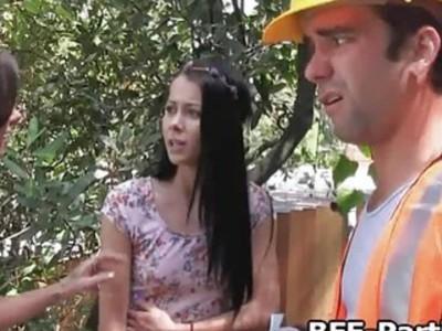 Hippie teens fucking a worker outdoors