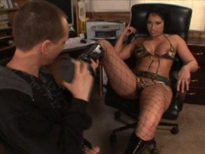 Trashy bitch Nicki Hunter seduces the guy showing him her wet snatch